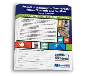 Flier for distribution in Washington County Public Schools advertising Antietam Cable's discounted internet service for Washington County families. Designed as part of the team at Icon Graphics.